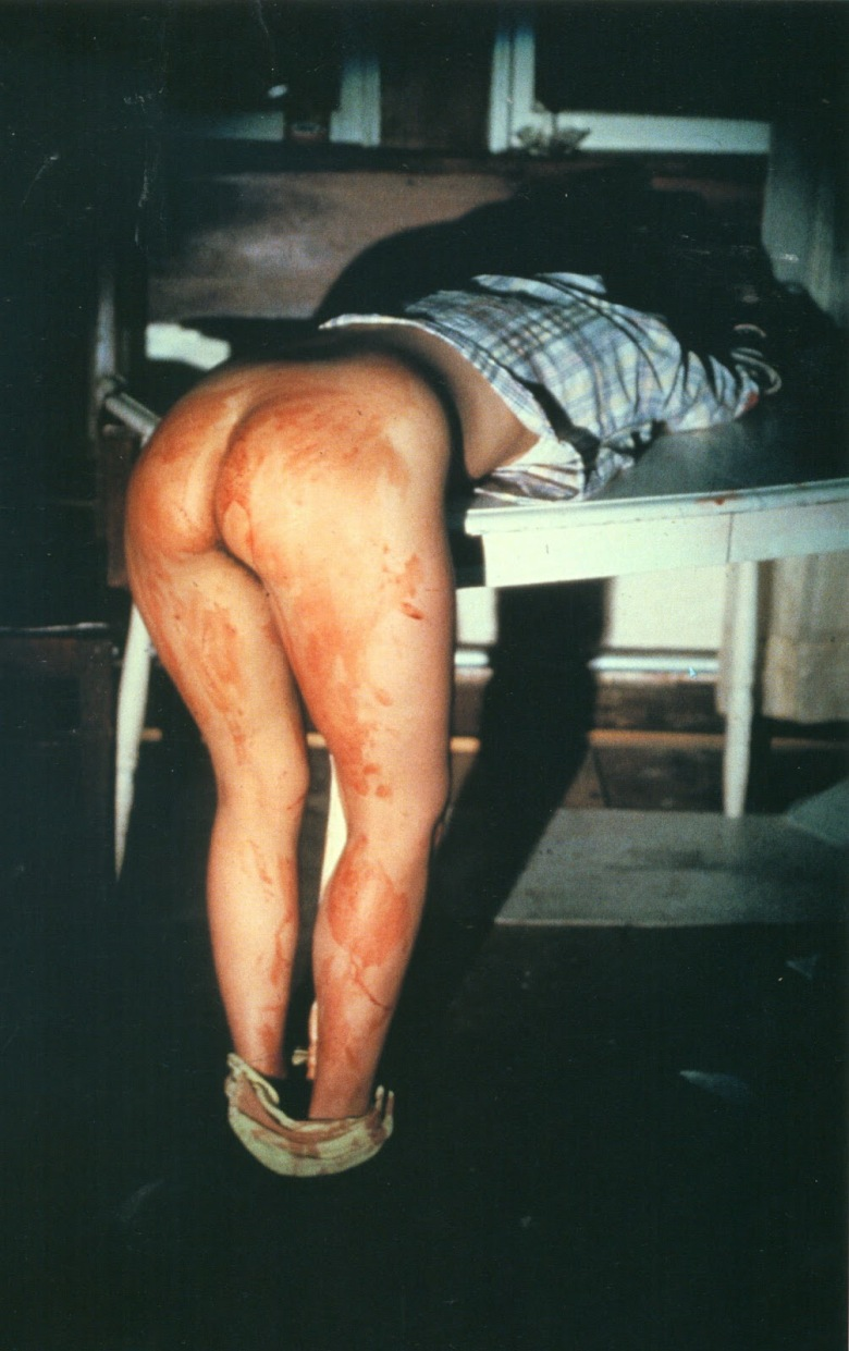 Ana Mendieta, Rape Scene,1973, Moffit Street Lowa City, Lowa