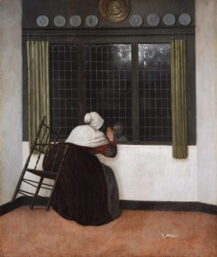 Jacob Vrel, Mulher acenando para menina, 1650